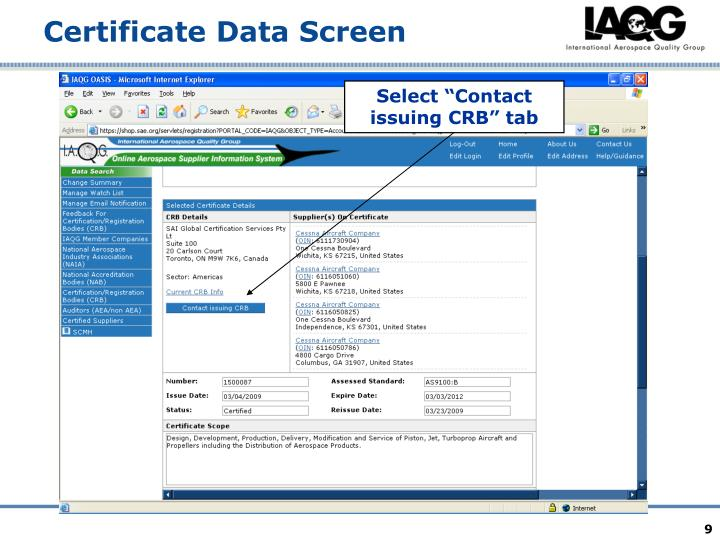 "Select ""Contact issuing CRB"" tab"