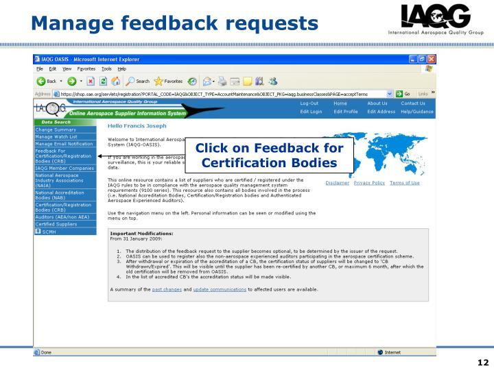 Click on Feedback for Certification Bodies