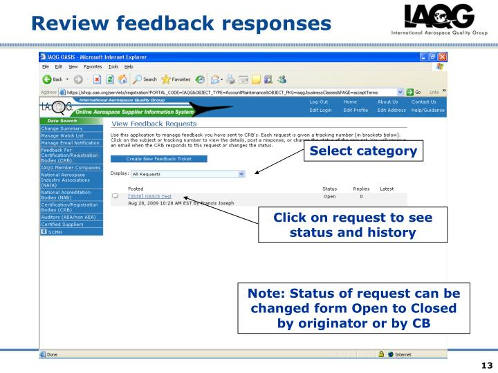Review feedback responses