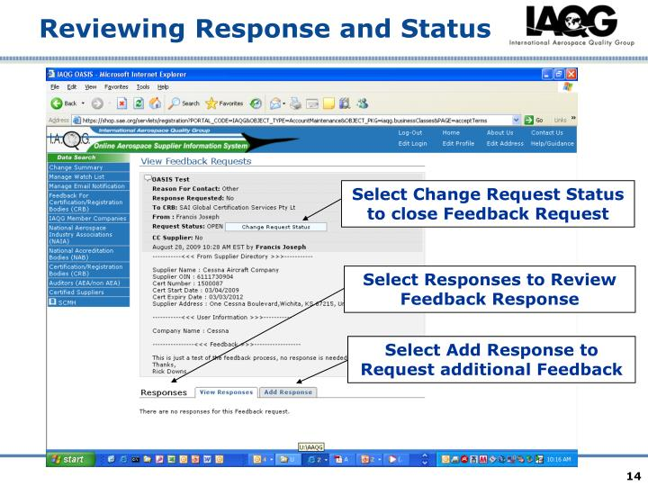 Select Change Request Status to close Feedback Request