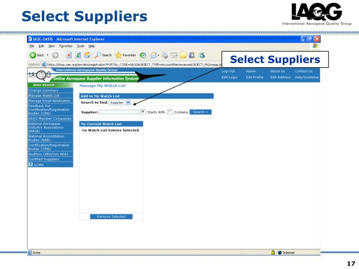 Select Suppliers