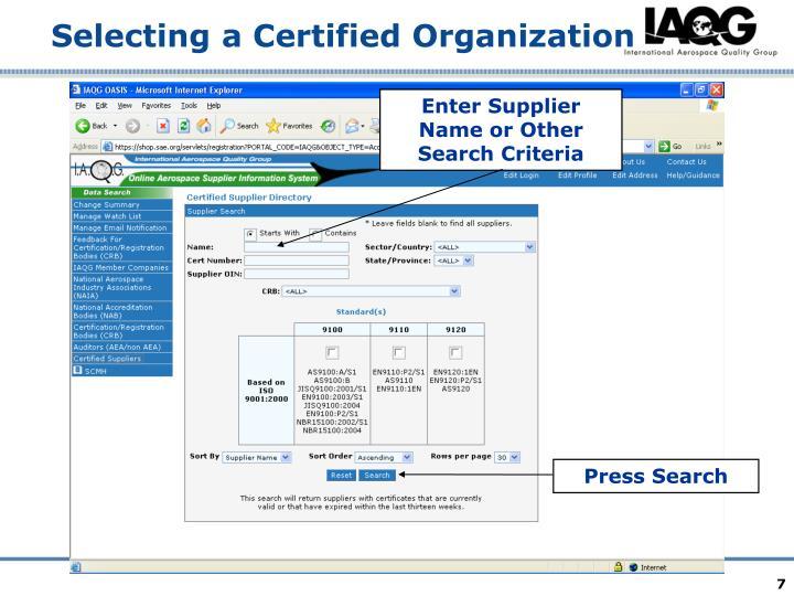 Enter Supplier Name or Other Search Criteria