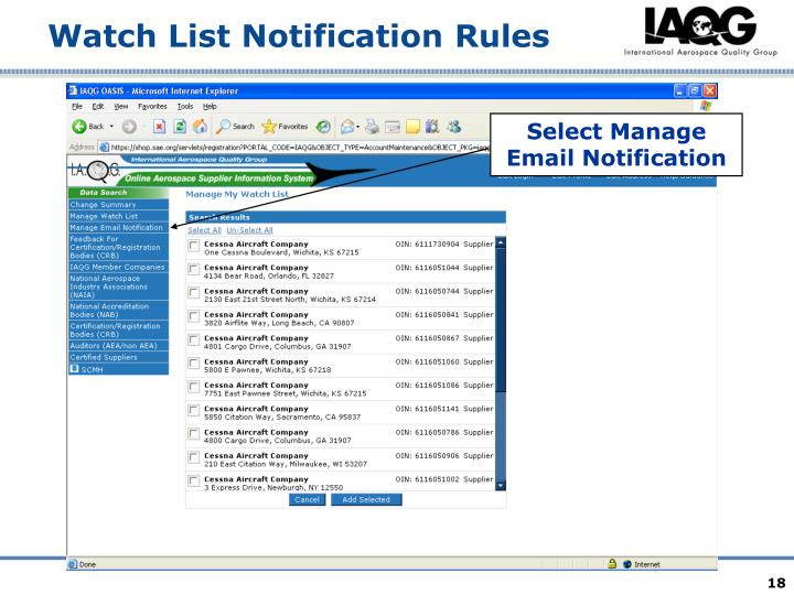 Select Manage Email Notification