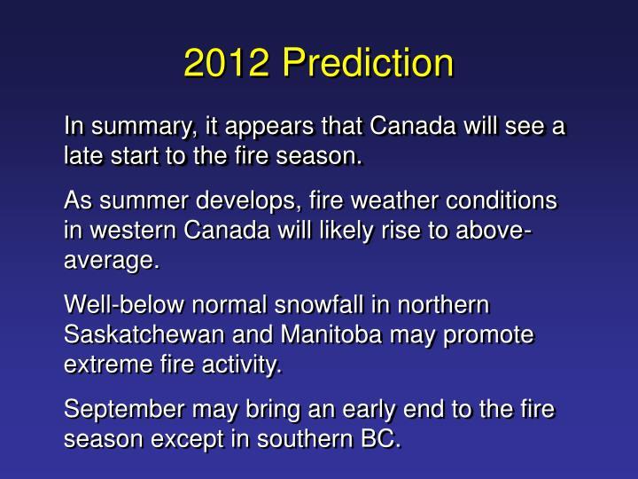 2012 Prediction