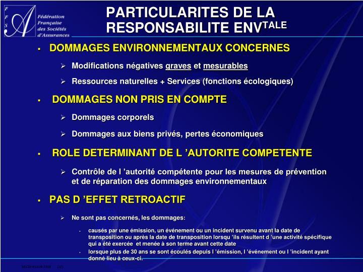 PARTICULARITES DE LA RESPONSABILITE ENV