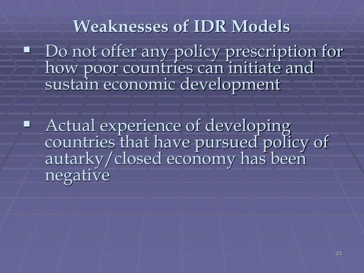Weaknesses of IDR Models
