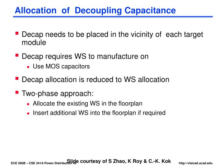 Allocation  of  Decoupling Capacitance