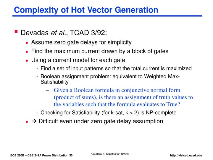 Complexity of Hot Vector Generation