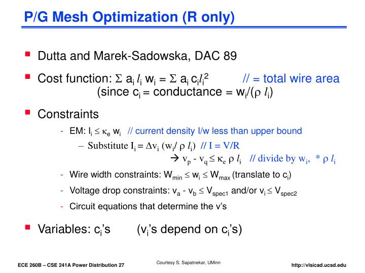 P/G Mesh Optimization (R only)