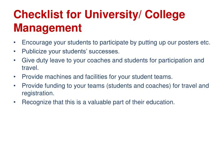 Checklist for University/ College Management
