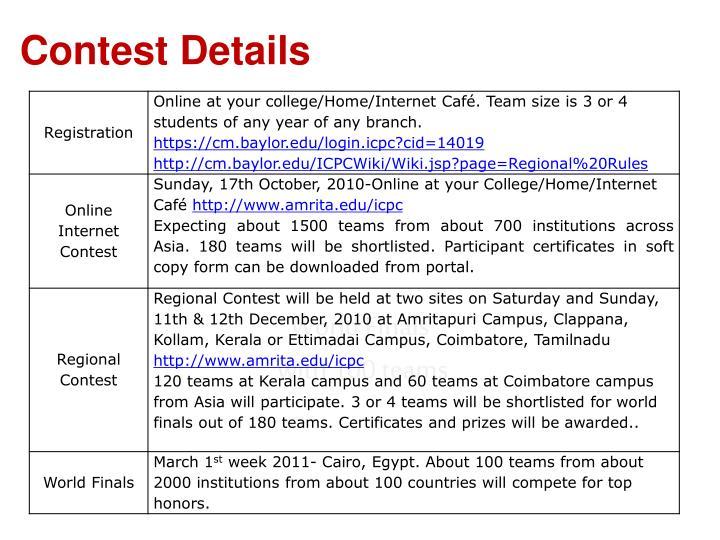 Contest Details