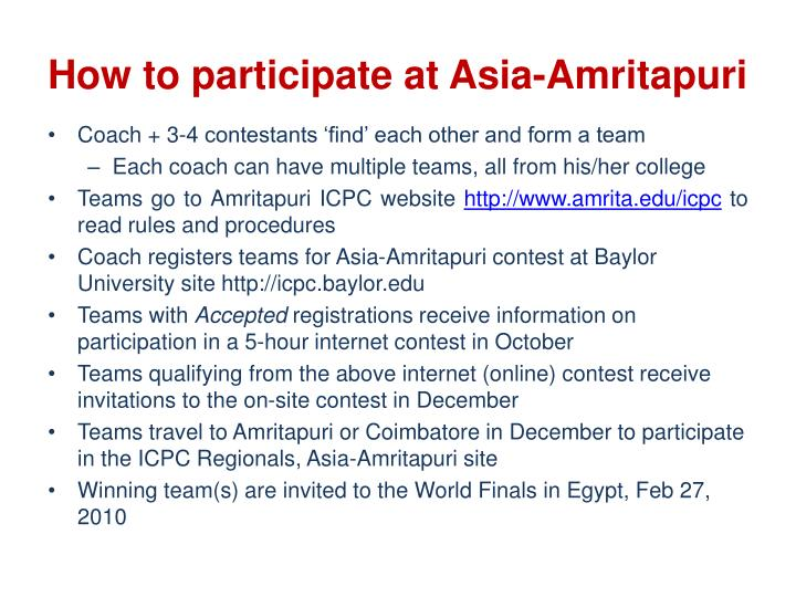 How to participate at Asia-Amritapuri