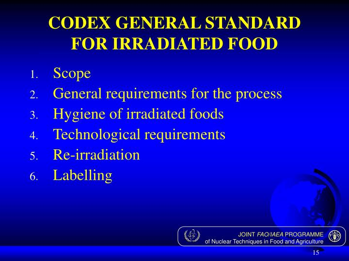 CODEX GENERAL STANDARD FOR IRRADIATED FOOD