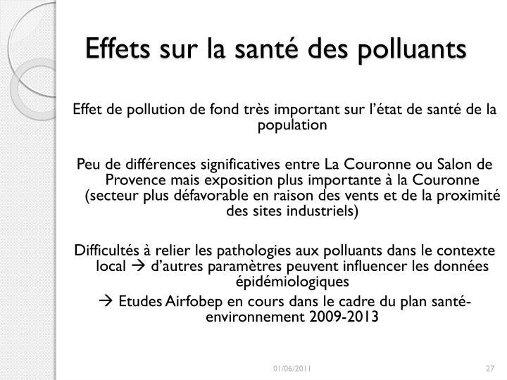 Effets sur la santé des polluants