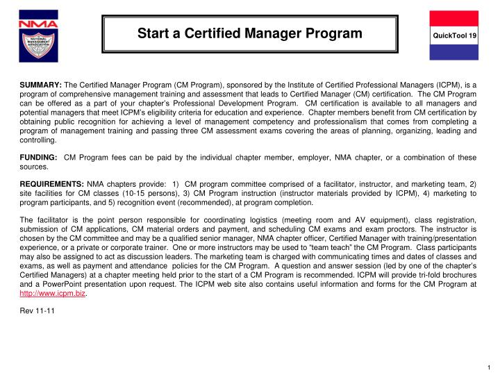Start a certified manager program
