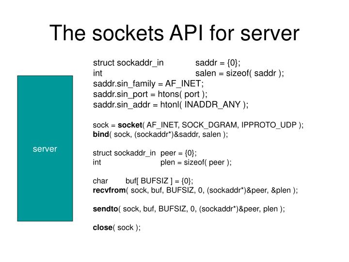 The sockets api for server