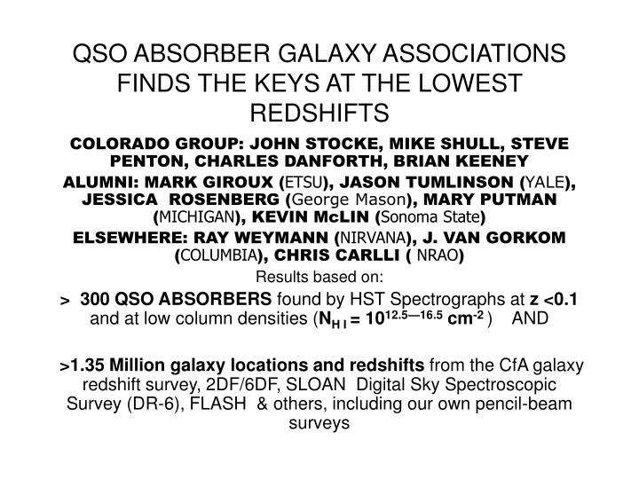 QSO ABSORBER GALAXY ASSOCIATIONS