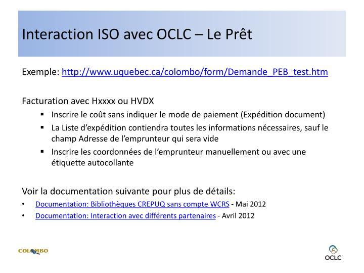 Interaction ISO avec OCLC – Le Prêt
