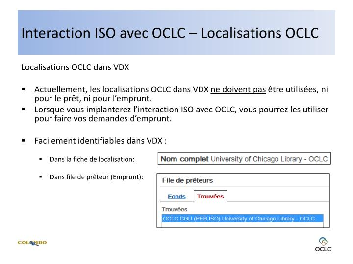 Interaction ISO avec OCLC – Localisations OCLC