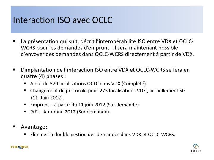 Interaction ISO avec OCLC