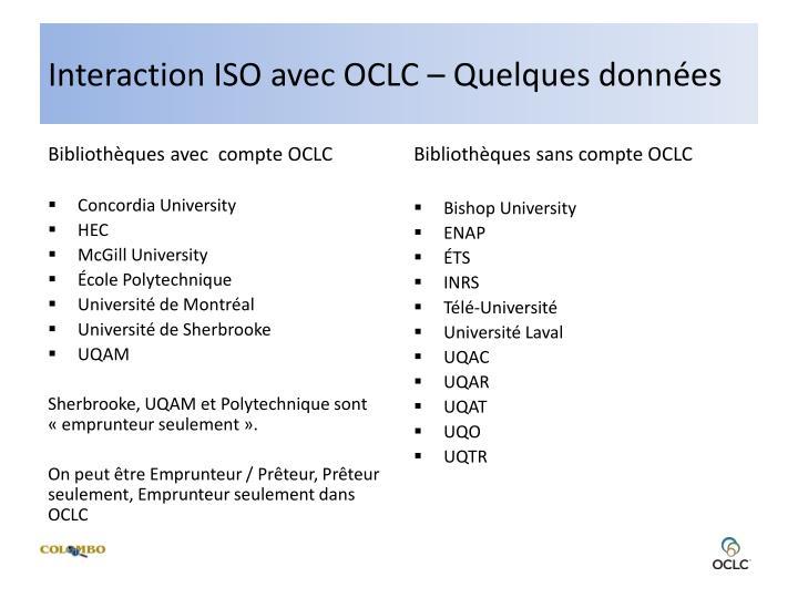 Interaction ISO avec OCLC – Quelques données