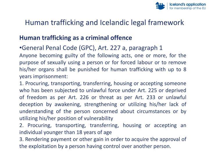 Human trafficking and Icelandic legal framework