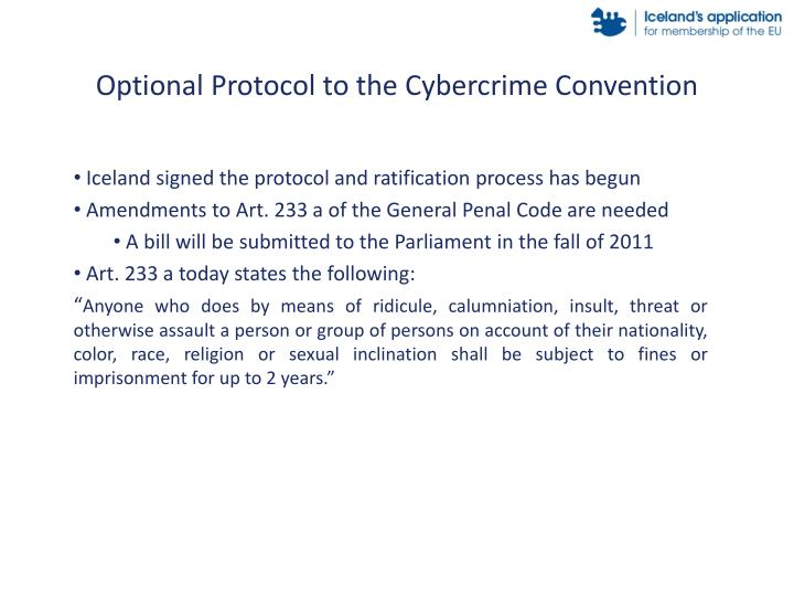 Optional Protocol to the Cybercrime Convention