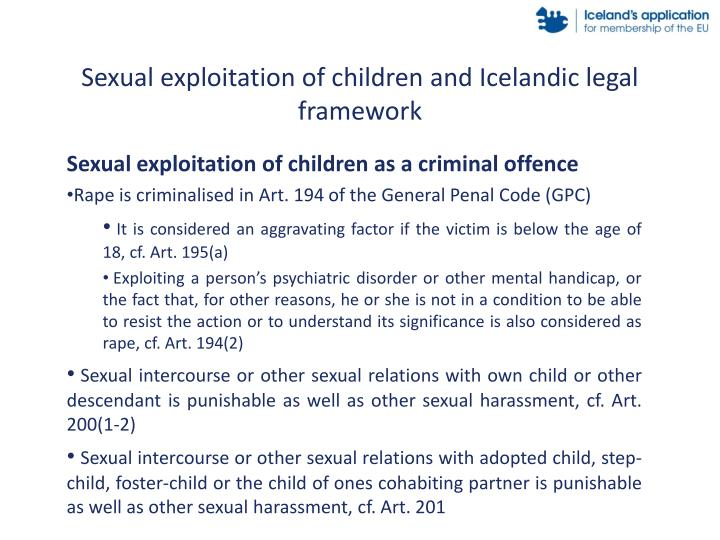 Sexual exploitation of children and Icelandic legal framework