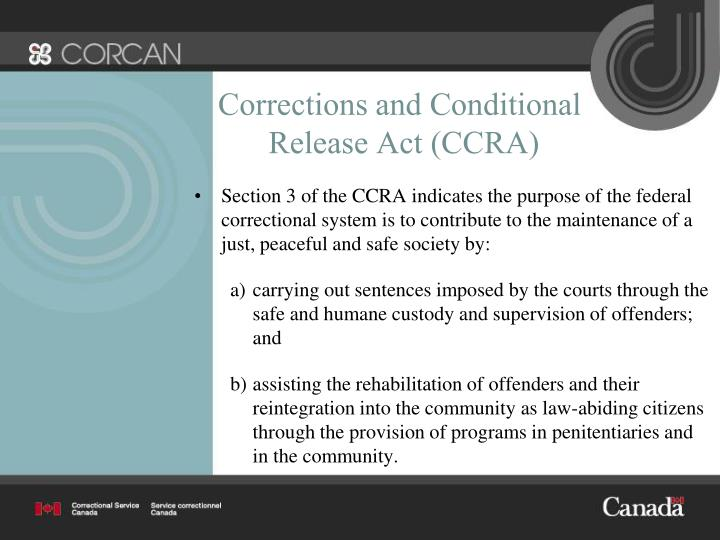 Corrections and conditional release act ccra