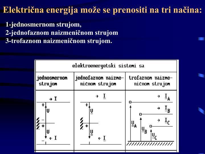 Električna energija može se prenositi na tri načina: