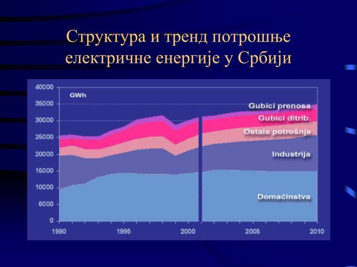 Структура и тренд потрошње електричне енергије у Србији