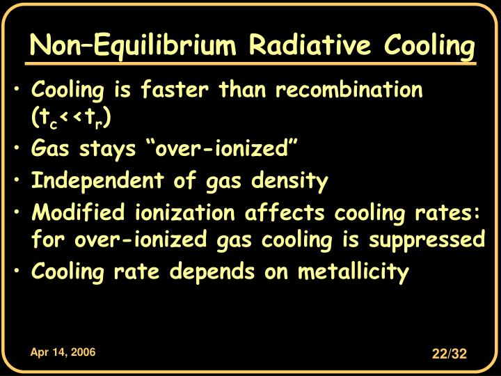 Non–Equilibrium Radiative Cooling