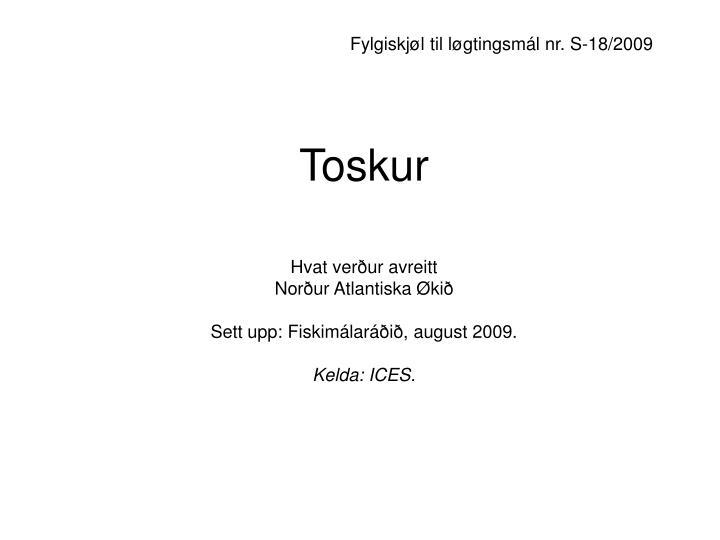 Fylgiskjøl til løgtingsmál nr. S-18/2009
