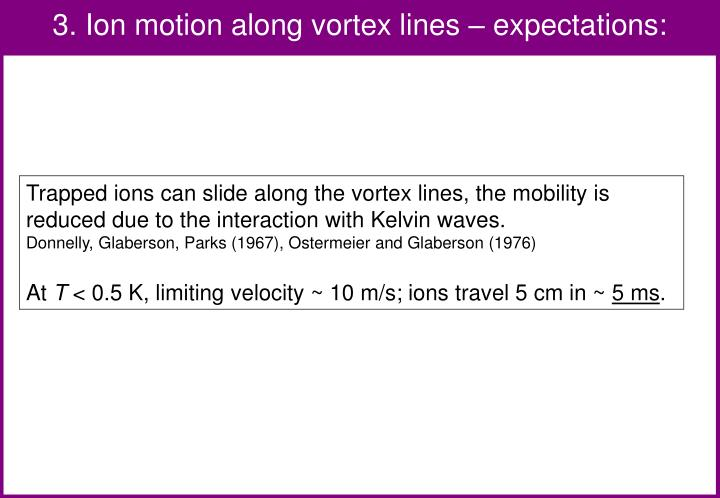 3. Ion motion along vortex lines – expectations: