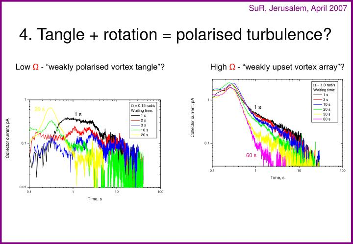 4. Tangle + rotation = polarised turbulence?