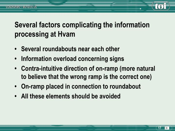 Several factors complicating the information processing at Hvam