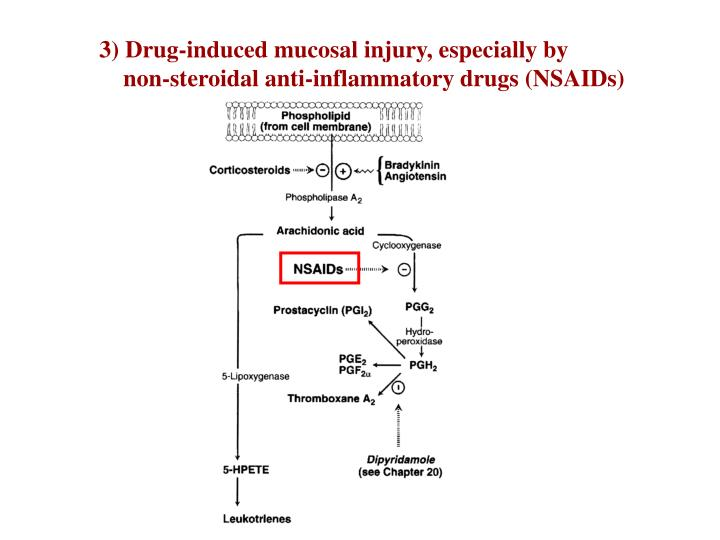 3) Drug-induced mucosal injury, especially by