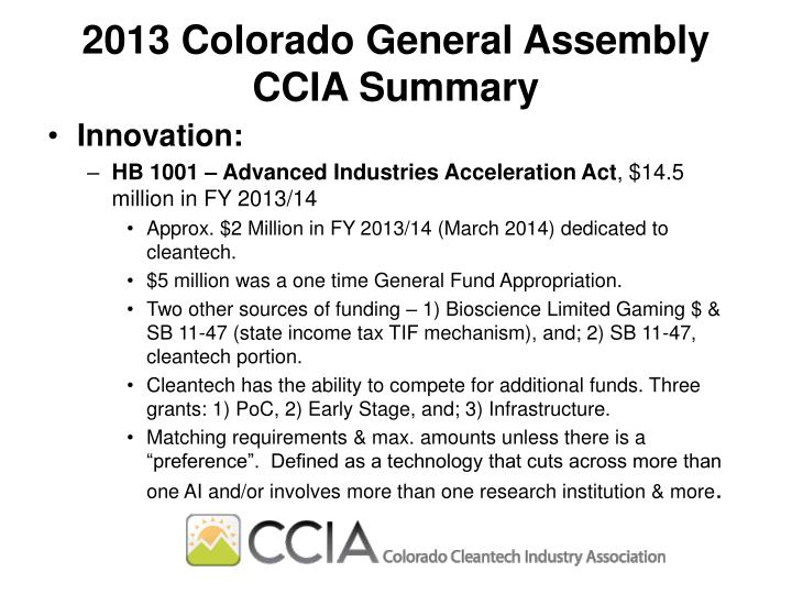 2013 Colorado General Assembly CCIA Summary
