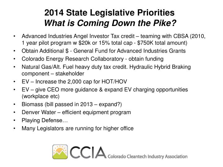 2014 State Legislative Priorities