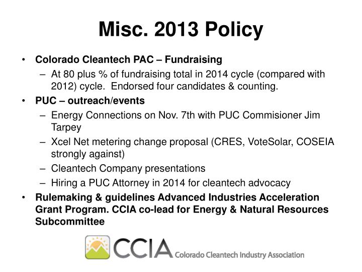 Misc. 2013 Policy