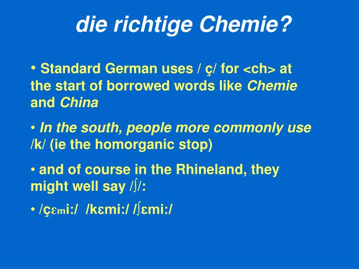 die richtige Chemie?