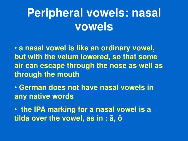 Peripheral vowels: nasal vowels