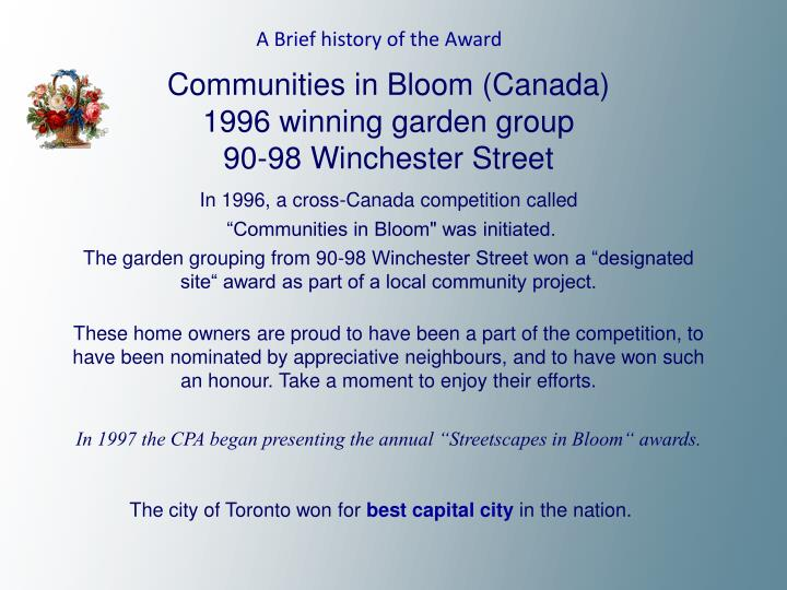 A Brief history of the Award