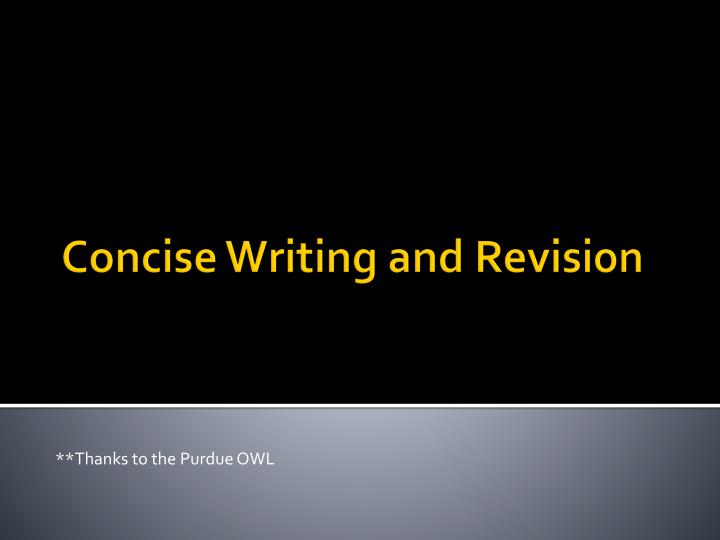 Concise writing and revision