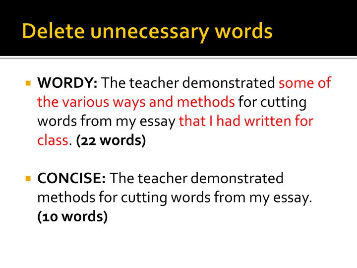 Delete unnecessary words