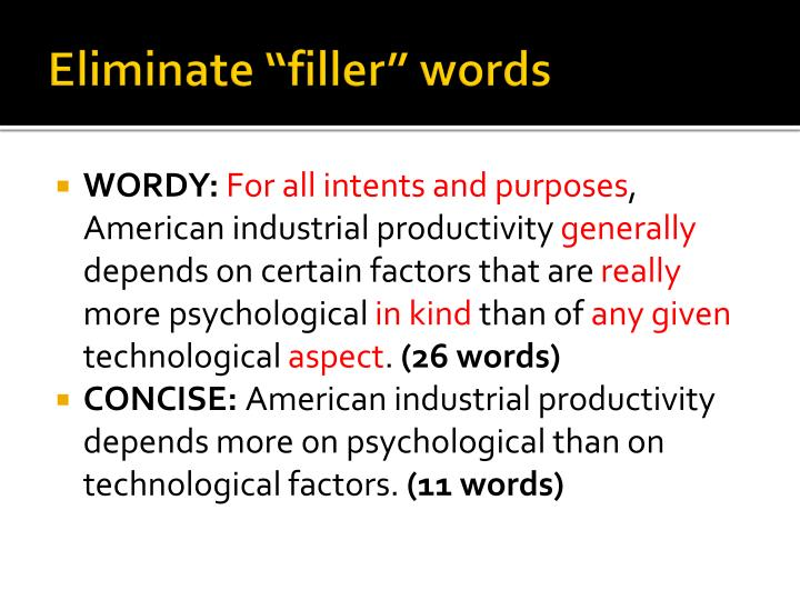 "Eliminate ""filler"" words"