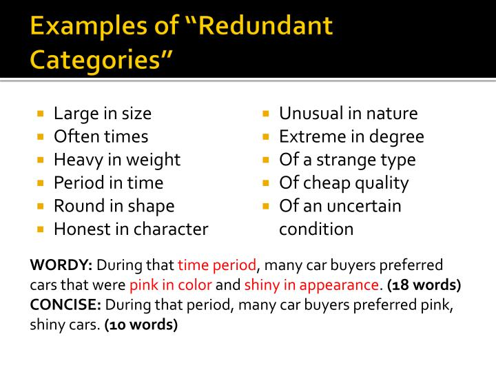 "Examples of ""Redundant Categories"""