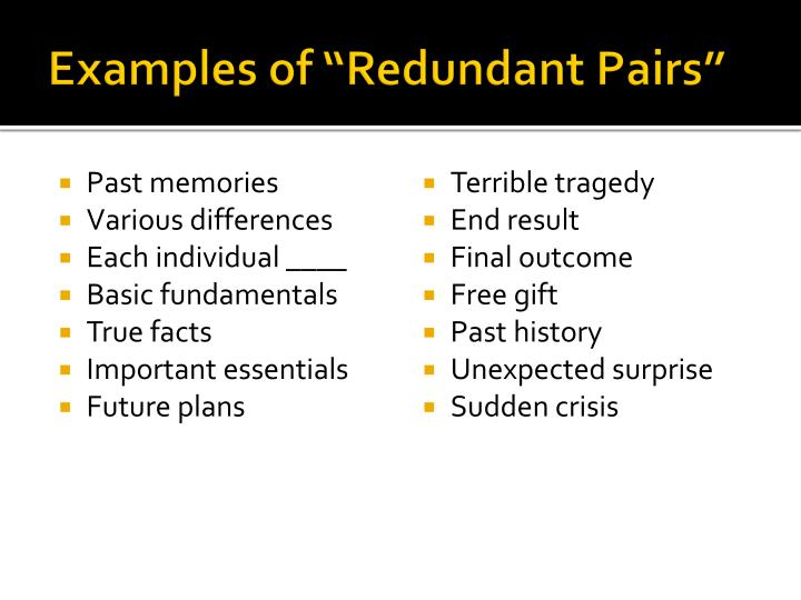 "Examples of ""Redundant Pairs"""