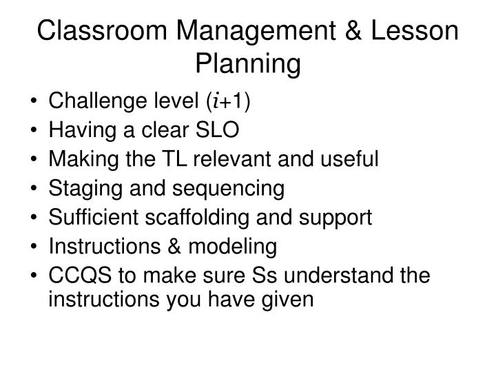 Classroom Management & Lesson Planning