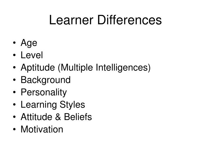 Learner Differences